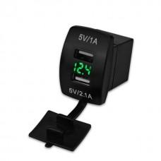 Врезной вольтметр + USB (1 модуль, четырехугольный корпус) для автомобилей и катеров